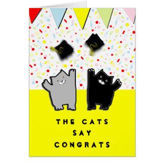 congrats gato-temáticos de la graduación tarjeta de felicitación