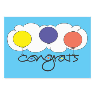 Congrats gift card with bright balloons and cloud business card template