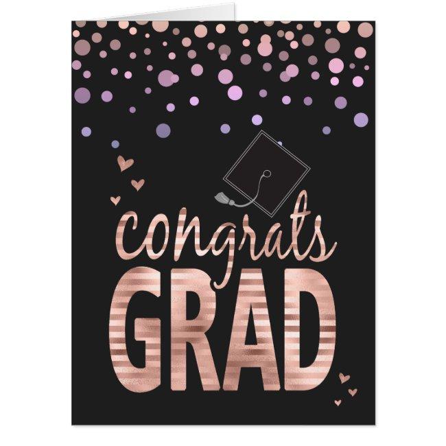 Congrats Grad Blush Rose Faux Foil Card