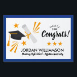 "Congrats Grad Cap Diploma Blue Graduation Party Lawn Sign<br><div class=""desc"">Celebrate your grad with this awesome yard sign featuring a gradation cap and diploma graphics and your custom text. Add your grad&#39;s name, class of year, high school/university or your custom text. Easily change the background color to coordinate with your school colors - just click on customize and scroll down...</div>"