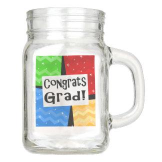Congrats Grad Colorful Blocks Graduation Party Mason Jar