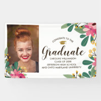 Congrats Grad Custom Photo Floral Graduation Sign