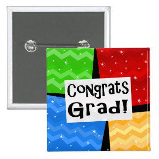 Congrats Grad Festive Multicolor Graduation Party Buttons