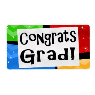 Congrats Grad Festive Multicolor Graduation Party Label