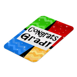Congrats Grad Festive Multicolor Graduation Party Magnet