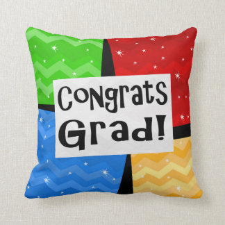 Congrats Grad Festive Multicolor Graduation Party Throw Pillow