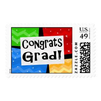 Congrats Grad Festive Multicolor Graduation Party Postage Stamp