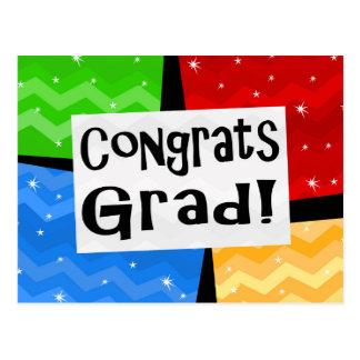 Congrats Grad Festive Multicolor Graduation Party Postcard