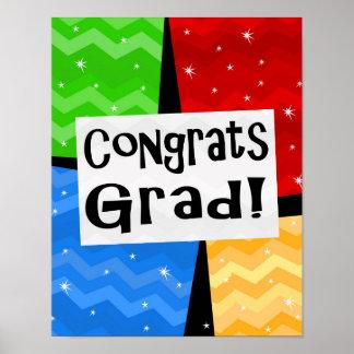 Congrats Grad Festive Multicolor Graduation Party Poster