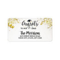 Congrats Grad Gold Confetti Streamers Fun Custom Label