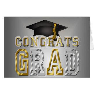 Congrats Grad Graduation - Black Silver Gold Stationery Note Card