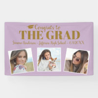 Congrats Grad Photo Collage Purple Graduation Sign