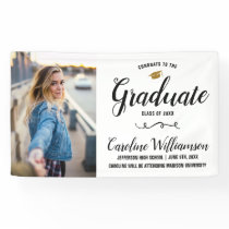Congrats Grad Photo Gold Cap Graduation Party Banner
