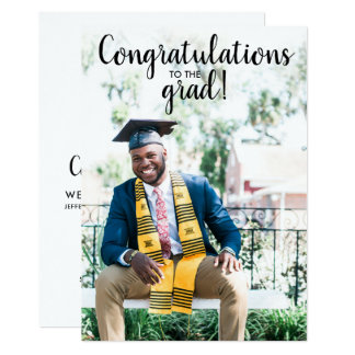 Congrats Grad Photo Simple Fun Graduation Party Card