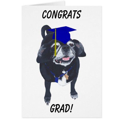Congrats Grad Pug Dog Blue Cap and Tassel Cards