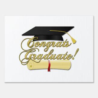Congrats Graduate Diploma and Graduation hat Yard Sign