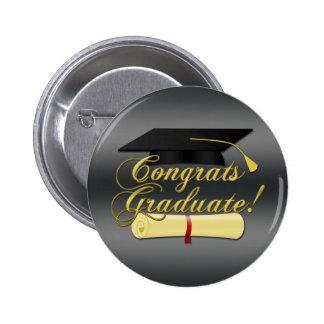 Congrats Graduate Diploma and hat   Grey Button
