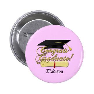 Congrats Graduate Diploma and hat + name   Pink Buttons