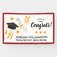 Congrats Graduate Diploma Cap Red Graduation Party Banner