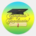 Congrats Graduate Diploma Graduation hat | Colors Round Sticker