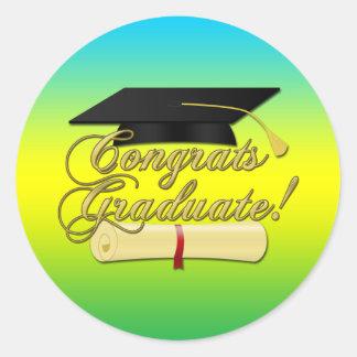 Congrats Graduate Diploma Graduation hat Colors Round Sticker
