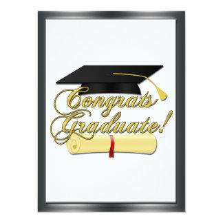 Congrats Graduate Diploma Graduation hat Invite