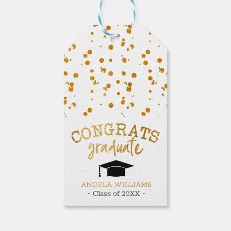Congrats Graduate Gold and White Graduation Gift Tags