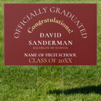 Congrats Graduate Name Year Gold White Burgundy Sign