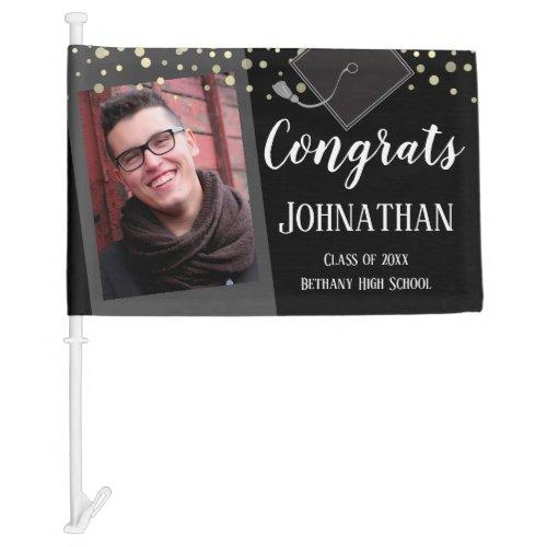 Congrats Graduation Class of 2020 Photo Black Car Flag