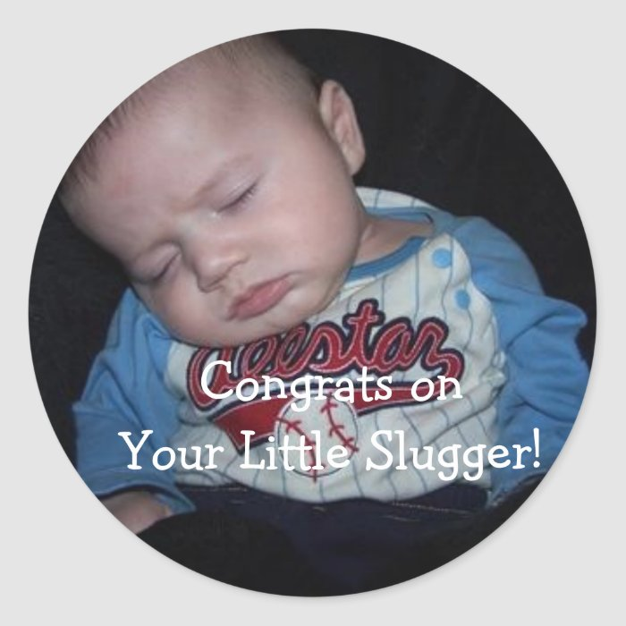 Congrats Little Slugger! Classic Round Sticker