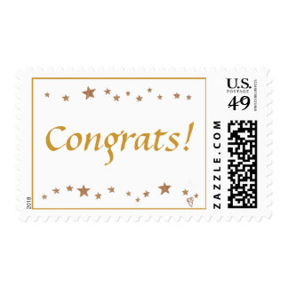 Congrats! Lively gold stars border stamps
