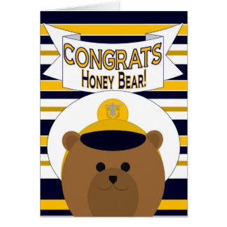 Congrats - Navy Officer Honey Bear / Husband Card