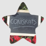 Congrats text written and red flowers stervormige sticker