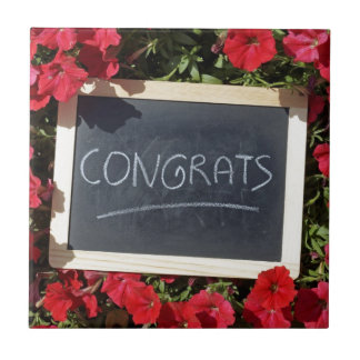 Congrats text written and save flowers ceramic tile