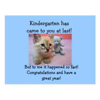 congrats to Kindergartener. Post Card