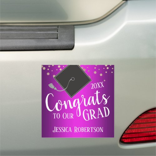 Congrats to Our Grad Class of 2020 Purple Car Magnet