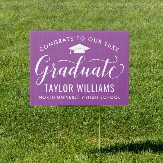 Congrats to Our Graduate Purple Elegant Script Sign