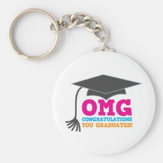 ¡Congratuations de OMG que usted graduó! Llavero Redondo Tipo Pin