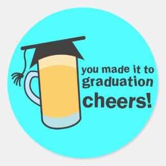 ¡congratuations que usted graduó! Vidrio de Pegatina Redonda