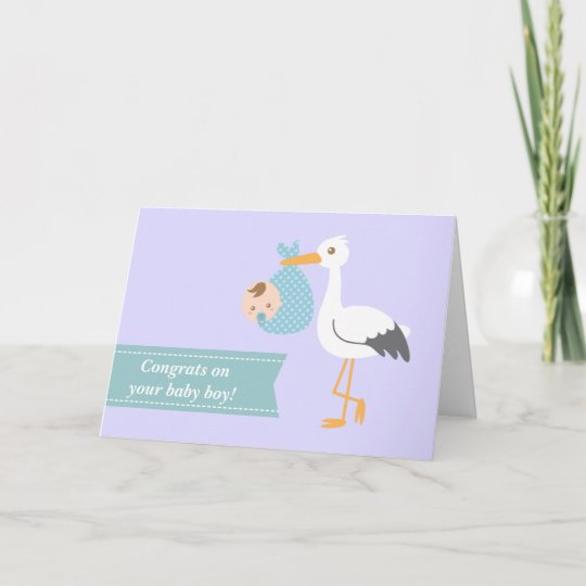 congratulate new parents stork with baby boy card