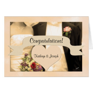 Congratulate the Bride and Groom Sepia Couple Card