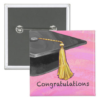 Congratulation Black and Pink 2 Inch Square Button