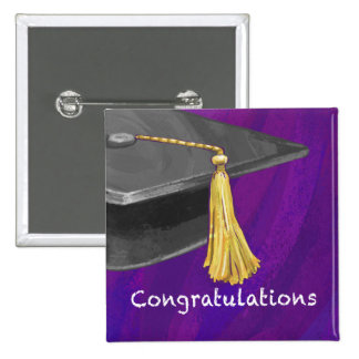 Congratulation Black and Purple 2 Inch Square Button