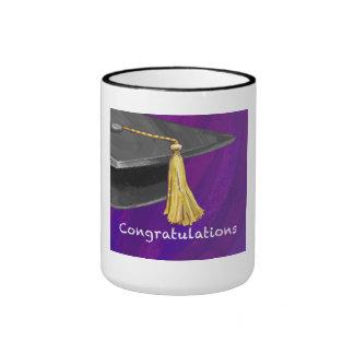 Congratulation Black and Purple Ringer Coffee Mug
