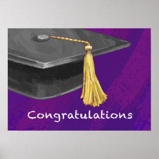 Congratulation Black and Purple Poster