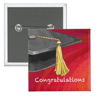 Congratulation Black and Red 2 Inch Square Button