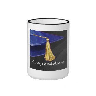 Congratulation Blue and Black Ringer Coffee Mug
