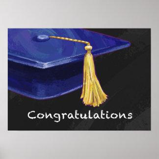 Congratulation Blue and Black Poster