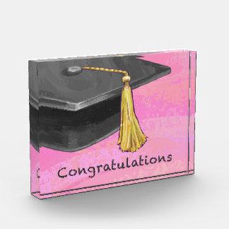 Congratulation Graduate Black and Pink Acrylic Award