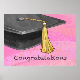 Congratulation Graduate Black and Pink Poster